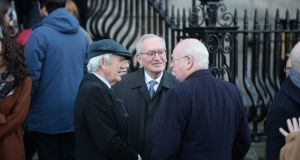 Charles Lysaght (from left) , writer; Art Cosgrove former President UCD and Micheal McDowell barrister and former Minister for Justice at the funeral of Barrister Paul Anthony McDermott. Photograph: Alan Betson/The Irish Times