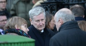 Supreme court judge John MacMenamin  attending the funeral of barrister Paul Anthony McDermott. Photograph: Alan Betson/The Irish Times
