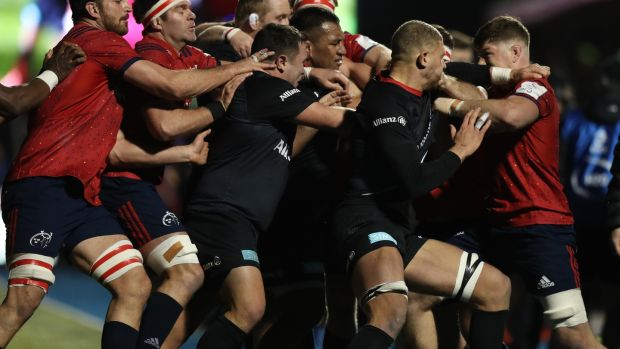 A mass brawl breaks out between the teams. Photo: David Rogers/Getty Images