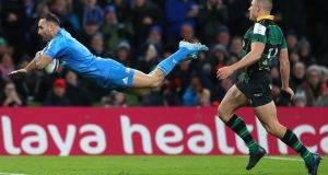 Dave Kearney of Leinser dives over to score a try that was subsequently disallowed. Photo: Michael Steele/Getty Images