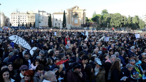 Demonstrators take part in a 'sardines' rally in Rome, Italy. Photograph: Marco Di Lauro/Getty Images
