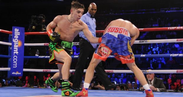 Michael Conlan scored a unanimous decision over Vladimir Nikitin in New York. Photograph: Emily Harney/Inpho