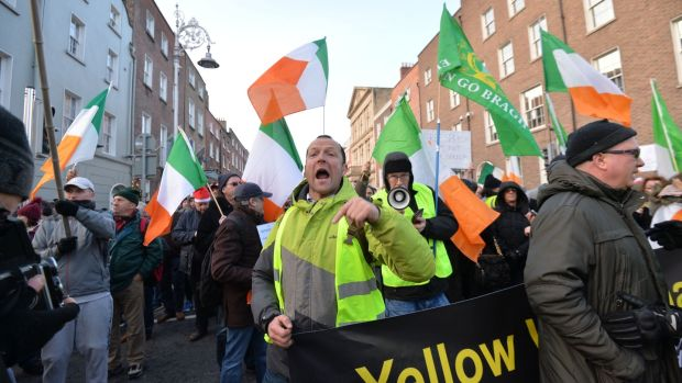 Opposing protests at the Dáil on 'free speech' and a counter demonstration. Photograph: Alan Betson/The Irish Times