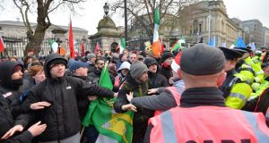 Opposing protests at the Dáil on 'free speech' and a counter demonstration on Saturday which led to some scuffles with stewards and gardaí and some arrests.Photograph: Alan Betson/The Irish Times