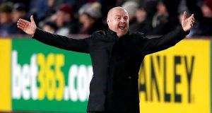 Sean Dyche during Burnley's win over Newcastle. Photograph: Martin Rickett/PA