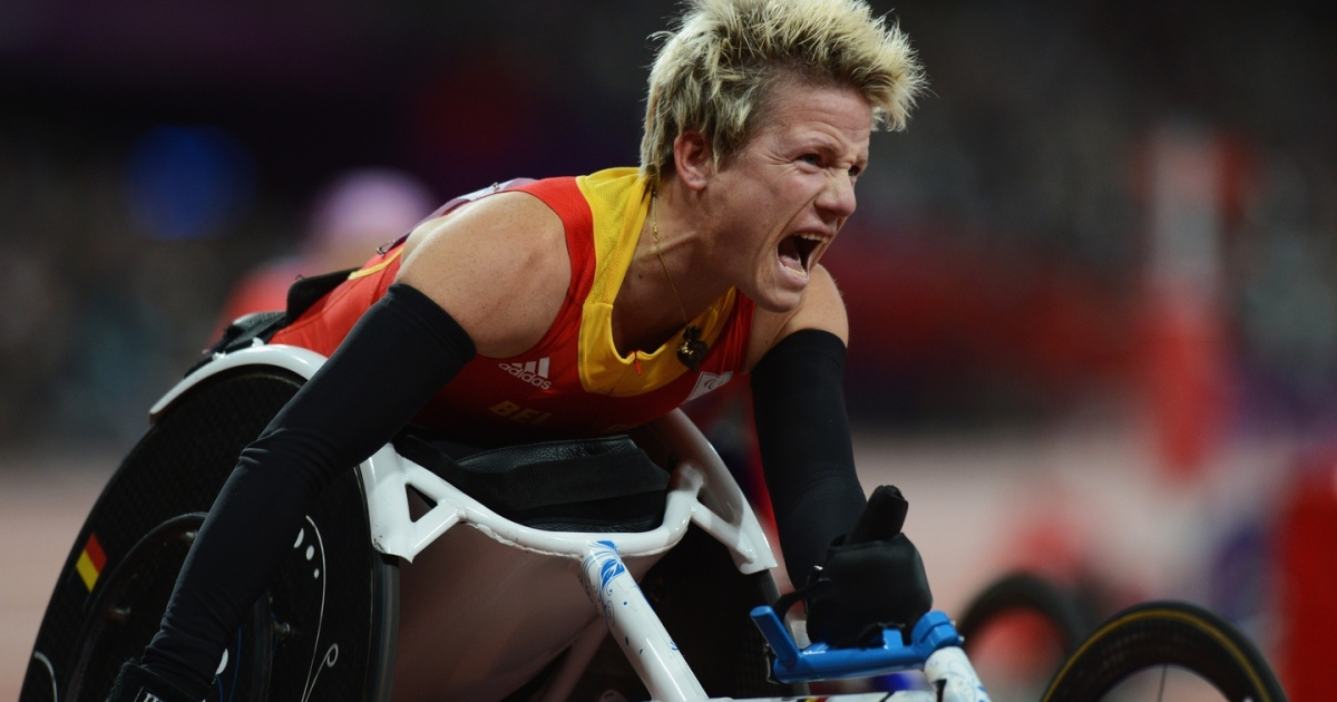 Marieke Vervoort of Belgium celebrates as she wins gold in the Women's 100m T52 Final at  the London 2012 Paralympic Games at Olympic Stadium on September 5th, 2012. (Photograph: Gareth Copley/Getty Images