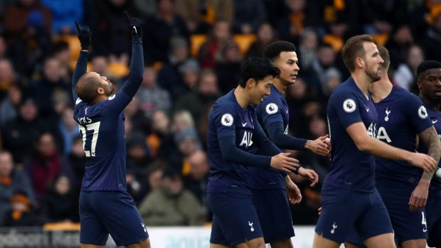 Lucas Moura celebrates opening the scoring for Spurs against Wolves. Photograph: Tim Goode/PA