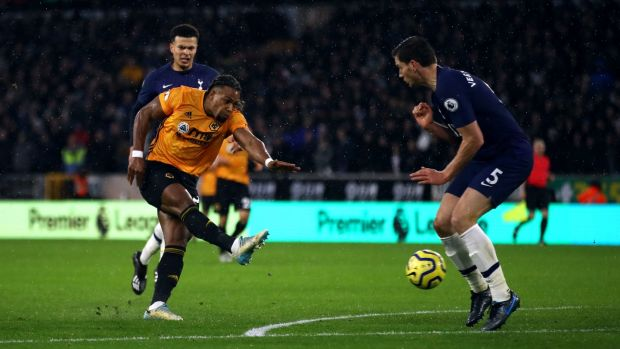 Adama Traore equalises for Wolves against Spurs. Photograph: Tim Goode/PA