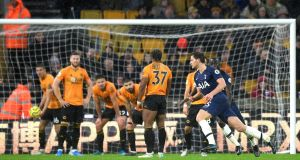 Jan Vertonghen scored Tottenham's later winner against Wolves. Photograph: Michael Regan/Getty