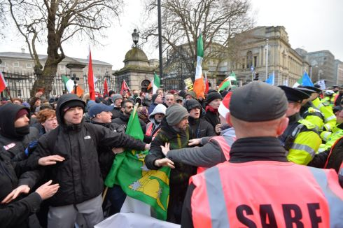 DUBLIN PROTESTS: Opposing protests meet outside the Dáil - with one side protesting for 'free speech' and the other forming a counter-demonstration. Photograph: Alan Betson/The Irish Times