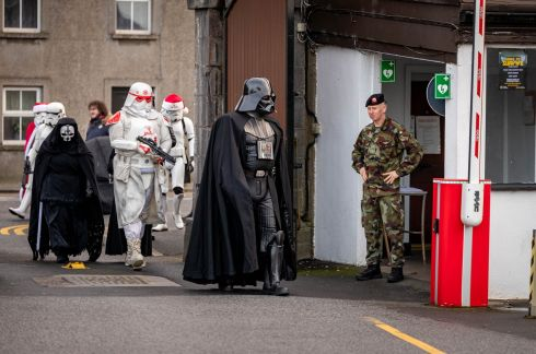 STAR POWER: Darth Vader arrives to the James Stephens Army Barracks Christmas Experience in Kilkenny during Yulefest Kilkenny. Photograph: Dylan Vaughan