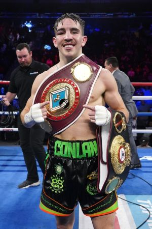 BELT UP: Michael Conlan celebrates after defeating Vladimir Nikitin at Madison Square Garden, New York, US. Photograph: INPHO/Emily Harney