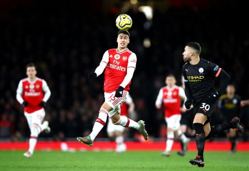 HEAD IN THE GAME: Gabriel Martinelli of Arsenal controls the ball during his team's match against Manchester City at Emirates Stadium in England. Photograph: Julian Finney/Getty Images