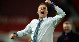 Everton manager Duncan Ferguson celebrates the 1-1 draw against Manchester United at Old Trafford. Photograph: Peter Powell/EPA