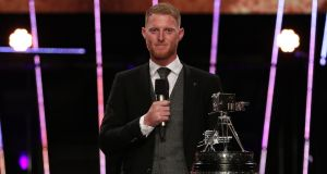 Ben Stokes speaks after receiving the BBC Sports Personality of the Year award - the public vote saw him finish ahead of Lewis Hamilton and Dina Asher-Smith. Photograph: PA