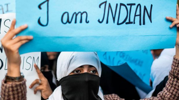 A protester during a demonstration against the Indian government's Citizenship Amendment Bill in New Delhi. Photograph: Jewel Samad/AFP via Getty Images