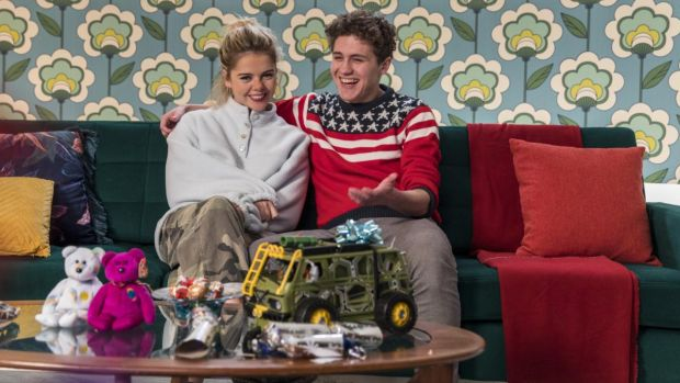 Saoirse-Monica Jackson and	Dylan Llewellyn in The Big Christmas Rewind