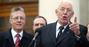DUP leader Ian Paisley, accompanied by deputy leader Peter Robinson (left), speaks to the media afer a meeting with members of the Irish government at Government Buildings, Dublin, in November 2005. Photograph: Gareth Chaney Collins