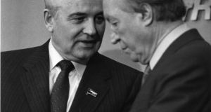 Soviet president Mikhail Gorbachev and taoiseach Charley Haughey after their meeting at Shannon Airport in April 1989. Photograph: Paddy Whelan