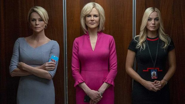 Charlize Theron plays Megyn Kelly (left) in a study of sexual harassment at Fox News, with Nicole Kidman and Margot Robbie