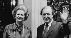 British prime minister Margaret Thatcher and taoiseach Charles Haughey on the steps of 10 Downing Street, London, in May 1980. Photograph: Keystone/Getty Images
