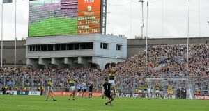 Dublin goalkeeper Stephen Cluxton fires the wnning free into the Hill 16 end with the final decisive act of the 2011 All-Ireland final against Kerry. Photograph: Brian Lawless/Sportsfile