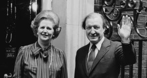 British prime minister Margaret Thatcher with taoiseach Charles Haughey on the steps of 10 Downing Street, London, in May 1980. Photograph: Keystone/Getty Images