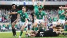 Ireland's Conor Murray celebrates Robbie Henshaw's try against New Zealand. Photograph: Billy Stickland/Inpho