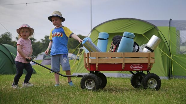 Two-year-old Phoebe and brother Samuel Renwick (5) from Wexford at Kaleidoscope Festival in Russborough House, 2019. Photograph: Nick Bradshaw/The Irish Times