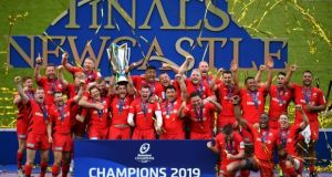 Saracens lift the Champions Cup trophy after beating Leinster in May. Only those two teams and Toulon have won the competition since 2010. Photograph: Dan Mullan/Getty Images