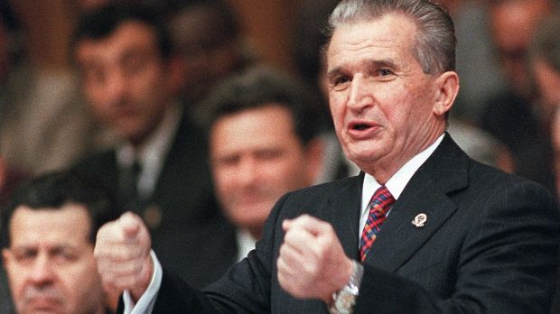 President Nicolae Ceaucescu at the party congress on November 24th, 1989. Photograph: Gerard Fouet/AFP/Getty Images