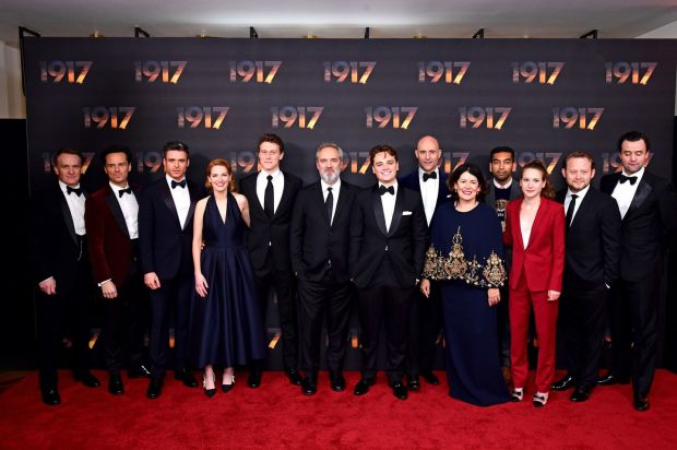 From left to right: Jamie Parker, Andrew Scott, Richard Madden, Krysty Wilson-Cairns, George MacKay, director Sam Mendes, Dean-Charles Chapman, Mark Strong, Pippa Harris, Nabhaan Rizwan, Claire Duburcq and Daniel Mays at the 1917 world premiere at Leicester Square, London on December 4th. Photograph: Ian West/PA Wire