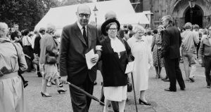 English poet Philip Larkin with his muse and mistress Monica Jones at Westminster Abbey, London in 1984. Photograph: Daily Express/Hulton Archive/Getty