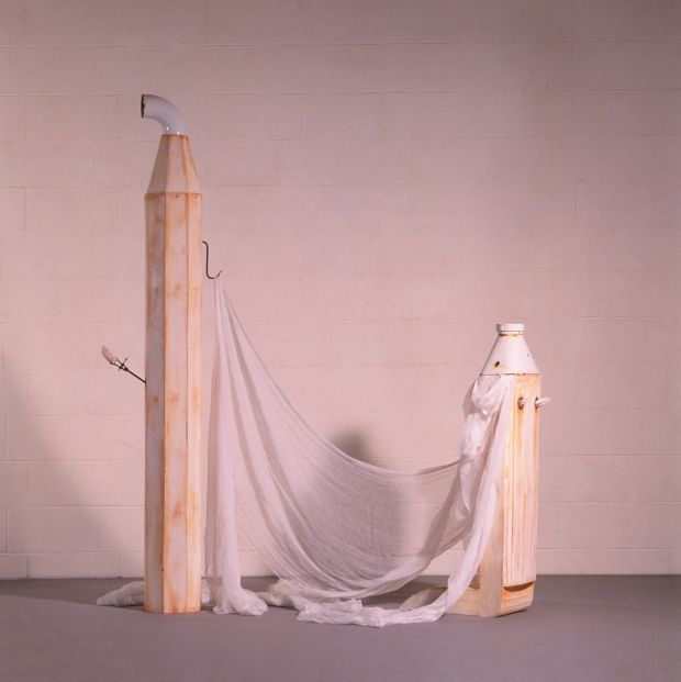 Dorothy Cross: Mr and Mrs Holy Joe (1986), painted wood, enamel pipe and collar, plaster moulds, metal hooks. The Graeve Collection, courtesy of The Model, Home of The Niland Collection