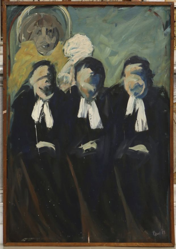 Patricia Hurl: The Kerry Baby Trial (1985), oil on canvas. Courtesy of the artist