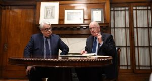 Minister for Justice Charlie Flanagan (right) pictured with Chief Justice  Frank Clarke at an event to mark the signing of the establishment of the Judicial Council on Tuesday evening. Photograph: Collins Courts