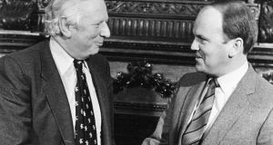 Northern secretary James Prior and minister for justice Michael Noonan at Iveagh House, Dublin, in 1984. Photograph: Peter Thursfield