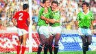 Republic of Ireland players John Aldridge and Kevin Sheedy celebrate a goal in the Word Cup qualifier against Malta on November 15th, 1989. Photograph: ©INPHO/Billy Stickland