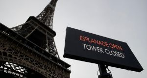 The Eiffel Tower, pictured on Tuesday, has been closed a result of French public sector protests. Photograph: Christophe Ena / AP