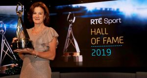 Sonia O'Sullivan at the RTÉ Sport's Awards this year where she won the Sport Hall of Fame award. Photograph:   Donall Farmer