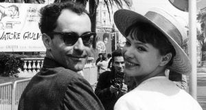 Anna Karina with her husband Jean-Luc Godard in Cannes in 1962. Photograph: Sipa/Rex/Shutterstock