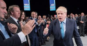British prime minister Boris Johnson gives a thumbs up after delivering his speech during the Conservative Party conference at the Manchester Convention Centre, Britain. File photograph: Stefan Rousseau/Pool/EPA