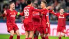 Liverpool celebrates scoring during the Uefa Champions League Group E football match with RB Salzburg  earlier this month, in Salzburg. Photograph: Joe Klamar/AFP via Getty Images