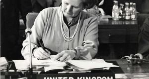 British prime minister Margaret Thatcher at an EEC Summit in Dublin Castle in November 1979. Photograph: Pat Langan