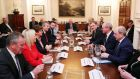 British Northern Ireland Secretary Julian Smith and Tánaiste Simon Coveney meet with the Northern party leaders including Arlene Foster, Michelle O'Neill, Colum Eastwood, Naomi Long and Steve Aiken at Stormont House on Wednesday. Photograph: Kelvin Boyes / Press Eye