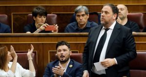 Oriol Junqueras (right) leader of the Catalan Republican Left and the former vice-president of the region was one of nice Catalan leaders given jail sentences in October. Photograph: Ballesteros/EPA