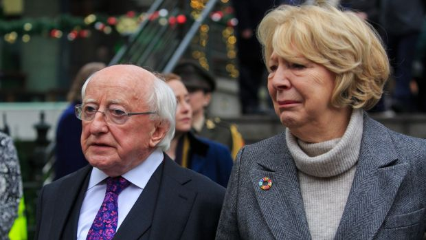 President of Ireland Michael D Higgins and his wife Sabina during the funeral at the Mansion house, Dublin. Photograph: Gareth Chaney/Collins