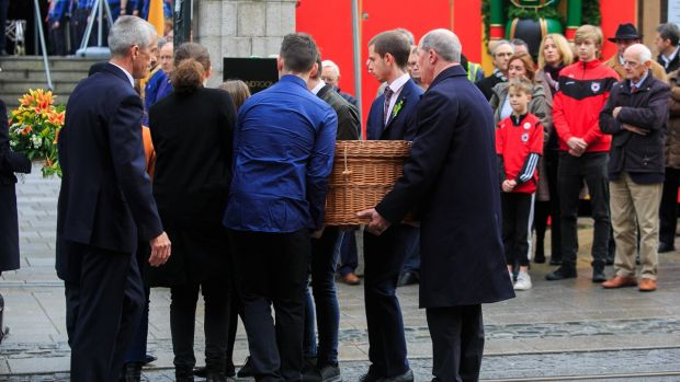 Cormac Ó Braonáin's remains arrive for his funeral at the Mansion house, Dublin. Photograph: Gareth Chaney/Collins