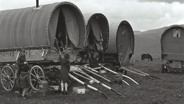 Archive photograph of traditional Travellers' caravans. Photograph: National Folklore Collection, UCD