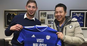 Emiliano Sala and Cardiff City chief executive Ken Choo on January 18th, 2019, in Cardiff, Wales. Photograph: Cardiff City FC/Getty Images